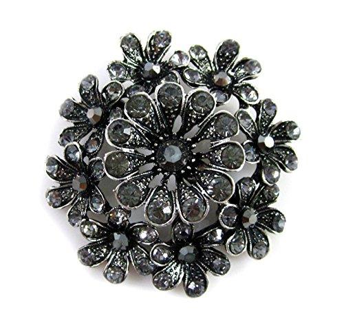 Hermosa novia de imitación broche con broche flor negro (BR046)
