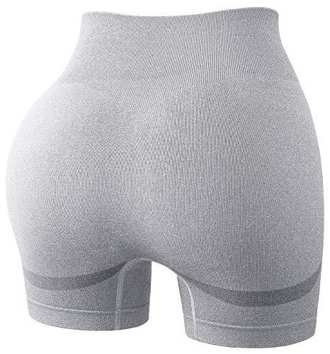 Vigorics Booty Lifting Shorts, Ladies Workout Bike Yoga Running Shorts Womens Peach Lift Leggings Sexy Ultra Butt Lift Ruched Knit Shorts for Womens to Wear Summer Light Gray Large