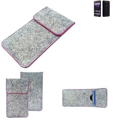 K-S-Trade Handy Schutz Hülle Für ZTE Blade V8 64 GB Schutzhülle Handyhülle Filztasche Pouch Tasche Hülle Sleeve Filzhülle Hellgrau Pinker Rand