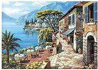 大人のための数字による絵画青い湖畔の風景40X50Cmフレームなしのキャンバス3つのブラシでのための数字による絵画