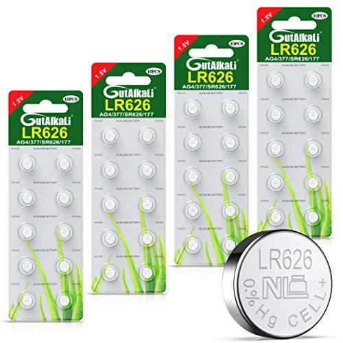 40 Stück AG4 LR626 1.5V Alkaline Knopfzelle Batterien ohne Quecksilber (AG4, LR66, LR626, 377, 40er-Pack, Blister)