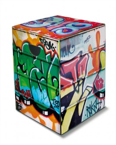 Remember Tabouret en Carton Graffiti - Multicolore - 32,5 cm x 44,4 cm