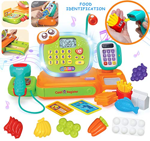JOYIN Smart Cash Register Pretend Play Toy for Kids, Cashier with Scanner, Microphone, Play Money and Grocery Toy for Toddler Boys and Girls, Toddler Interactive Learning, Educational Toy
