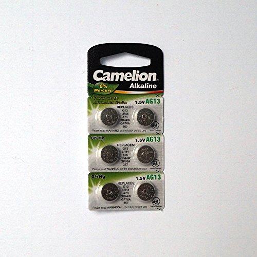 ARCAS Knopfzellen AG13 Alkaline Batterie 1,5V 11,6x5,4mm 6er-Pack auf Blister LR44 / A76