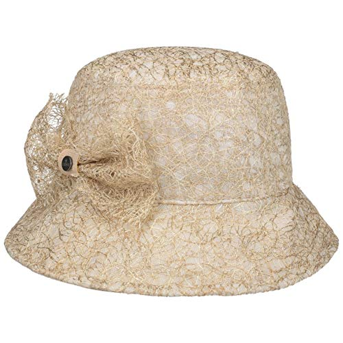 Lierys Kalena Glockenhut mit Schleife Damenhut Viskosehut Stoffhut Sonnenhut Damen - Made in Italy Frühling-Sommer - One Size Gold