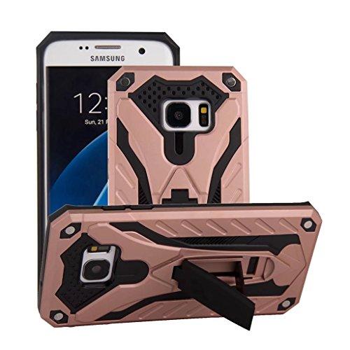 Funda Samsung Galaxy S7 Edge Oro- MUTOUREN 2 en 1 PU+ PC Híbrido Resistente a Prueba Golpes Kickstand Robusto Defender Cover Case para Samsung Galaxy S7 Edge