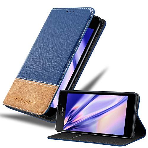 Cadorabo Hülle für Sony Xperia M2 / M2 Aqua - Hülle in DUNKEL BLAU BRAUN – Handyhülle mit Standfunktion und Kartenfach aus Einer Kunstlederkombi - Case Cover Schutzhülle Etui Tasche Book