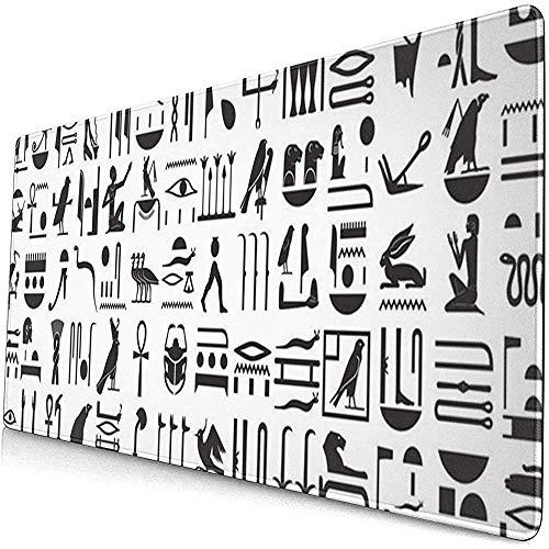 Gaming Extended Mouse Pads mit Rutschfester Gummibasis Pharao Ägypten Silhouetten der Alten ägyptischen Hieroglyphen Symbol 30X80 cm