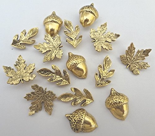 Fall Leaves and Acorn Metal Push Pins, 3 Designs, Gold Finish, Solid Metal, 15 Pieces
