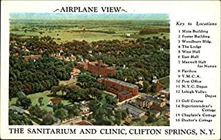 Airplane View of The Sanitarium and Clinic Clifton Springs, New York Original Vintage Postcard