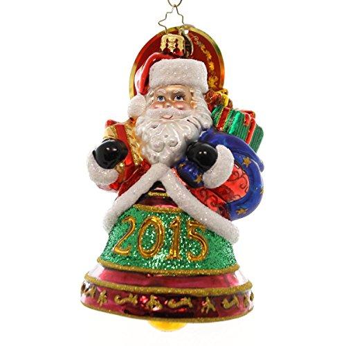 "Christopher Radko 2015 Santa Clapper Glass Christmas Ornament - 5.5""h."
