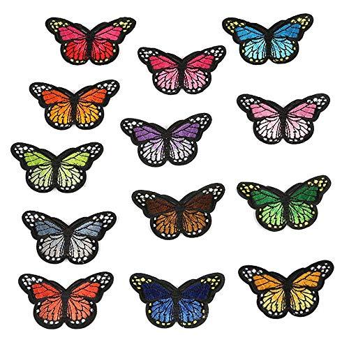 10PCS Mariposa colorida DIY Flor Apliques Parche bordado Etiqueta de tela