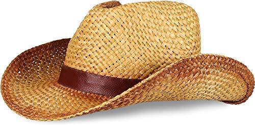 normani Strohhut mit Applikation und Hutband Farbe Cowboy Größe 59-61