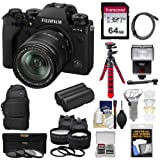 Fujifilm X-T4 Mirrorless Digital Camera & 18-55mm XF Lens (Black) with 64GB Card + Backpack + Battery & Charger + Tripod + Flash + 2 Lens Kit