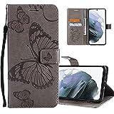 COTDINFOR Etui für Huawei Y6 2019 Hülle PU Leder Cover Schutzhülle Magnet Tasche Flip Handytasche im Bookstyle Stand Kartenfächer Lederhülle für Huawei Honor 8A / Y6 2019 Big Butterfly Gray KT.