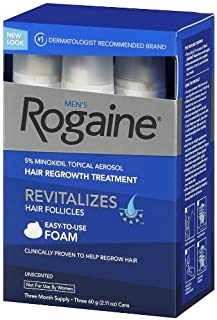 Rogaine for Men Hair Regrowth Treatment, 5% Minoxidil Topical Aerosol, Easy-to-Use Foam, (6 Months Supply (4.22 Ounces))