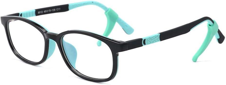 WEIDD Gafas De Filtro De Luz Azul, Gafas De Pantalla, Ojos De Juego Gafas De Luz Anti-Azul Para NiñOs Reloj De Silicona Bicolor De Moda TeléFono MóVil Gafas Anti-RadiacióN-C11 Marco Negro Piernas Ve