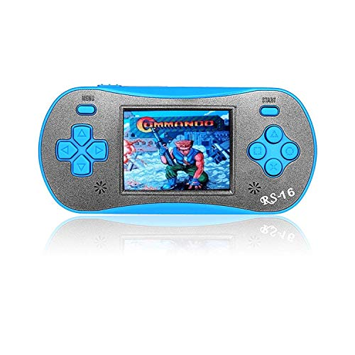 FAMILY POCKET Handheld Game Player for Kids Adults, RS16 Portable Classic Game Controller Built-in 260 Game 2.5 inch LCD Retro Arcade Video Game System Children's Birthday Gift-Blue