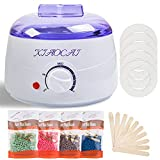 Waxing Kit, Wax Warmer Kit for Hair Removal with 4 Packs Wax Beads & 10Pcs Waxing Applicator Sticks, Painless at Home Hair Removal Kit for Bikini Brazilian Body Face Eyebrow Legs