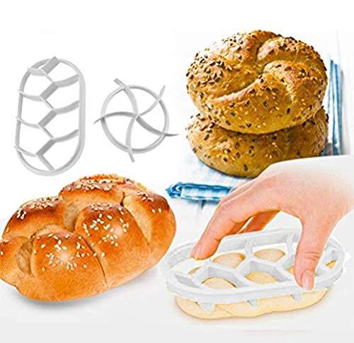 Teigpresse-Set, 2 Stück, Backform, Brot, Brötchen, Kunststoff, Gebäckausstecher, weiß, DIY Brot, Pressform, rund, ovales Set, Backzubehör