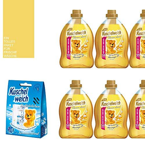 8tlg. Set: 6x750ml Kuschelweich Weichspüler/Premium Luxus / 150 WL/Moringa-Öl / 1 x Kuschelweich Duftsäckchen Box / 1 x Mini-Bag von STUDIO.MUNET in Schwarz oder Weiß