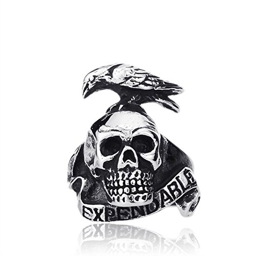 GDSTAR Punk Style Expendable Ring For Men 316L Stainless Steel Bird On Skull Ring Jewelry Man 12.0