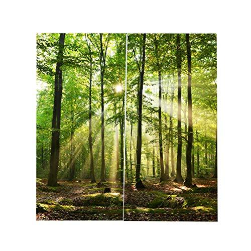 Cortinas de sombreado con Estampado de luz Solar de bosques, Cortinas Opacas Decorativas para balcón, Dormitorio, Sala de Estar, Ventana(150*166cm)