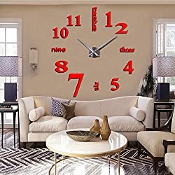 FASHION in THE CITY New 3D DIY Mirror Surface Wall Clocks Modern Design Living Room Decorative Wall Watches … (Red)