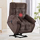 CANMOV Power Lift Recliner Chair with Heat Vibration Massage for Elderly Heavy Duty and Safety Motion Reclining Mechanism-Antiskid Fabric Sofa Living Room Chair with Contemporary Arms and Back, Taupe