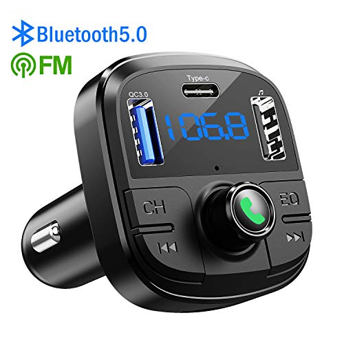 Bluetooth FM Transmitter for Car, Clydek BT 5.0 & QC3.0 Car Bluetooth Adapter Wireless Bluetooth FM Radio Adapter with 5 EQ Mode, 3 Charging Ports Support USB Disk, TF Card Hands-Free Car Kits