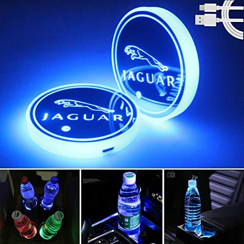 Noveltys 2pcs LED Car Cup Holder Lights for Jaguar, 7 Colors Changing USB Charging Mat Luminescent Cup Pad, LED Interior Atmosphere Lamp (fit Jaguar)