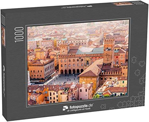 Puzzle 1000 Teile Luftbild vom Turm auf die Bolognaer Altstadt mit Maggioreplatz in Italien - Klassische Puzzle mit edler Motiv-Schachtel, Fotopuzzle-Kollektion 'Italien'