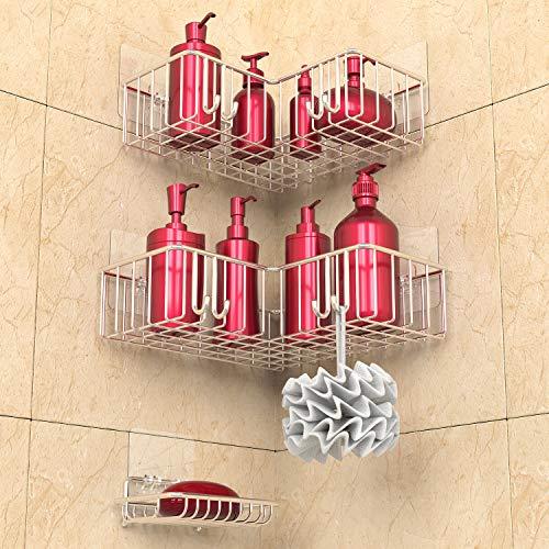 浴室ラック シャンプーラック シャワーラック バスラック お風呂ラック 頑丈 ステンレス 石鹸置き キッチン用ラック 収納ラック 溢れ 強力粘着固定 水切り 3セット