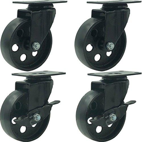 """FactorDuty 4 All Black Metal Swivel Plate Caster Wheels w/Brake Lock Heavy Duty High-Gauge Steel (4"""" Combo)"""