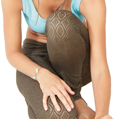 Prancing Leopard Damen Yoga Leggings DALUIS aus Biobaumwolle Spitzengewebe - Steghose - L - Dark Olive Green
