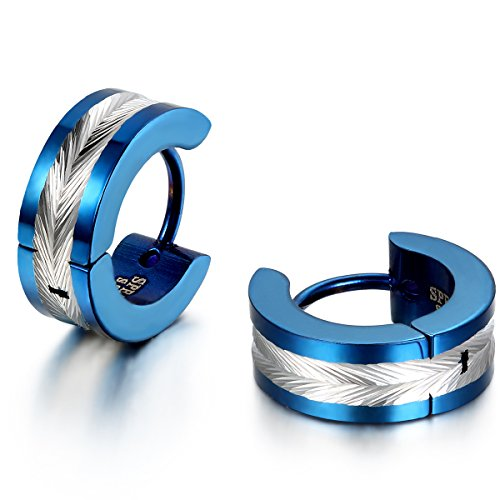 JewelryWe Schmuck Herren Ohrringe, Edelstahl, Glänzend Poliert Creolen Ohrstecker, Blau Silber