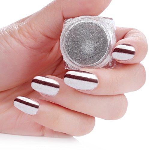 Makartt Mirror Nail Powder Silver Nail Pigment Power Chrome Nail Polish Glitter with 2 Brush 1g