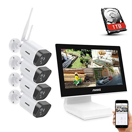 ANNKE WLAN Überwachungskamera Set Außen mit Monitor 4CH 10.1 Zoll 5MP wireless NVR und 4x1080P WLAN IP Kamera mit 1TB Festplatte Videoüberwachungssystem für Innen Außen Haussicherheit