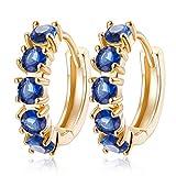 YAZILIND 18 k chapado en oro joyer¨ªa exquisita ronda pendientes aro abrazos para mujeres cubic zirconia cristal elemento de joyer¨ªa de la boda (azul)