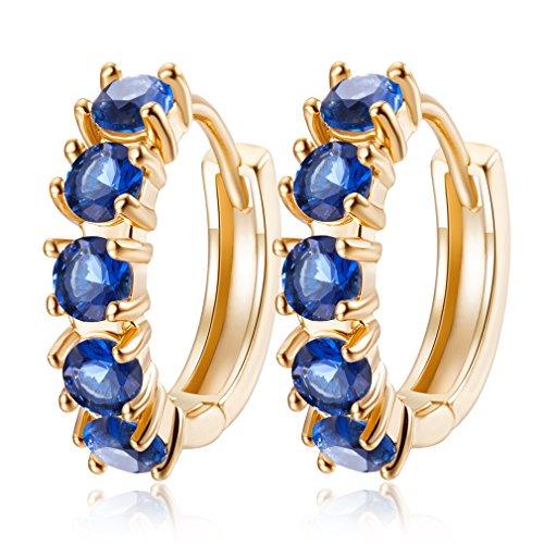 YAZILIND 18 k chapado en oro joyer¨ªa exquisita ronda pendientes aro abrazos para mujeres cubic zirconia cristal elemento joyer¨ªa de la boda