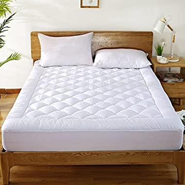 HYPNOS Mattress Pad Cover with 18  Deep Pocket 300TC Cotton Down Mattress Topper By Mattress Topper Hypoallergenic Quilted Stretch-to-Fit,Queen