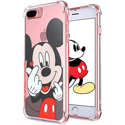 Darnew Heart Mickey Custodia per iPhone 7 Plus 8 Plus, Cartone Animato Carino Morbido TPU Freddo Divertimento Divertente Cover per Bambini Ragazze Donne Protettivo Custodia per iPhone 7 Plus 8 Plus