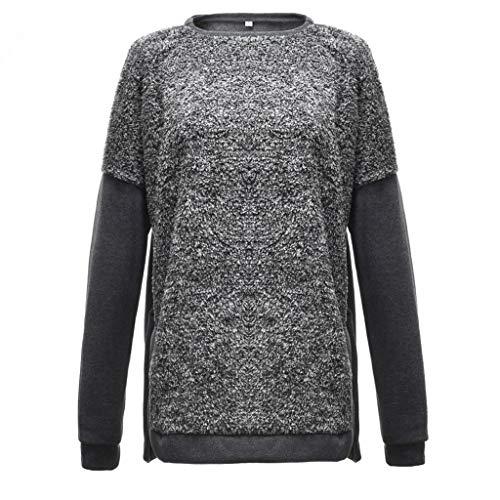 LILIHOT Langärmliges Hemd mit Rundhalsausschnitt für Frauen Lässige Farbblock-Bluse mit Geschlitzten Tops Damen Hoodie Sweatshirt Pullover Oberteile
