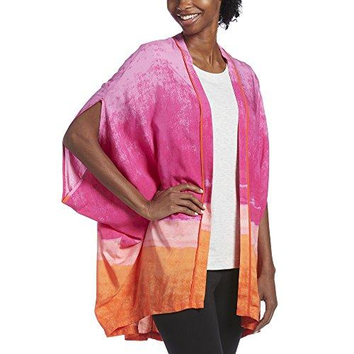 HUE Women's Woven Kimono Sleep Wrap, Summer Horizon/Party Pink, Medium/Large
