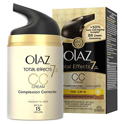 Olaz Total Effects CC Cream, pomp, per stuk verpakt (1 x 50 ml) Voor een donkere huid.