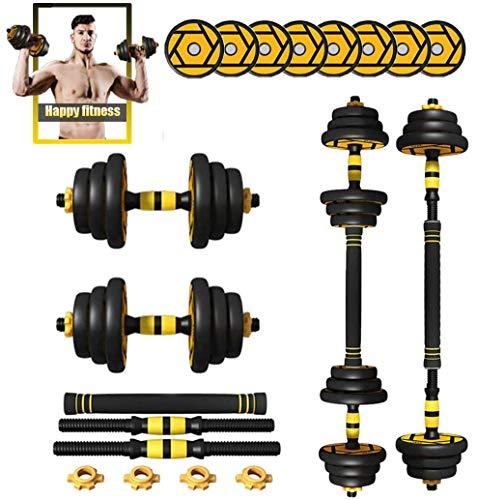 Adjustable Dumbbell Set Weights for Women or Men Home Gym Fitness Equipment 2 in 1 Dumbell & Barbells Free Combination Set 1 Pair,30kg/15kg*2