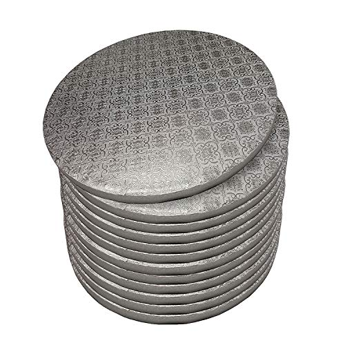 Spec101 Round Cake Drums 14 Inch - 12pk Silver Cake Drum Boards with 12-Inch Thick Smooth-Edges