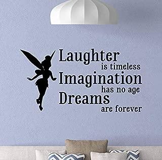 Laughter is Timeless Wall Decal Tinkerbell Wall Decal Walt Disney Quote Fairy Decor Gift Vinyl Sticker Print Girl Nursery Wall Art Baby Room Kids Decor Children Nursery Poster Custom Mural 953