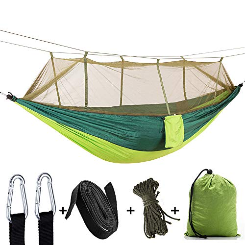 DYJM-OrSt hamac Suspendu,Outdoor Parachute Cloth with Mosquito Net Ultra Light Nylon Double Hammock, Camping Aerial Tent Hammock - Army Green
