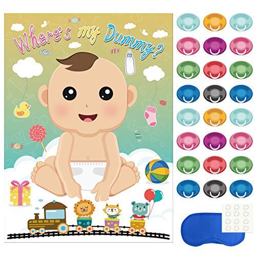 FEPITO Baby Shower Party Spiele, Pin The Dummy auf das Baby-Spiel mit 24Pcs Schnuller-Aufklebern für Babyparty Partei Versorgungen